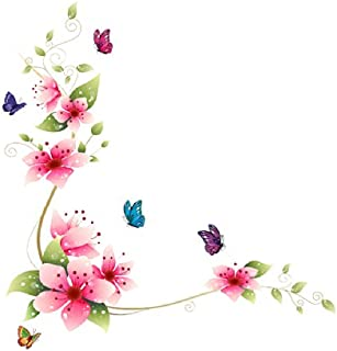 Winhappyhome Flowers Vines Butterfly Wall Stickers for Bedroom Living Room Glass Window Door Backdrop Home Decor Removable Decals