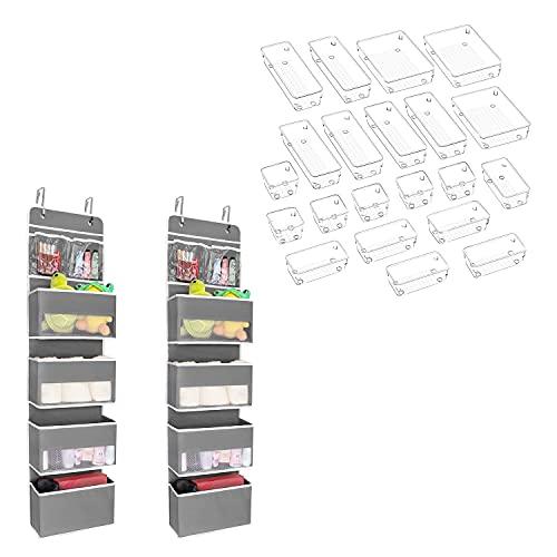 JARLINK 2 Pack 5-Shelf Over Door Hanging Organizer Bundle with 21 Pack Desk Drawer Organizer Trays for Bathroom, Bedroom, Makeup