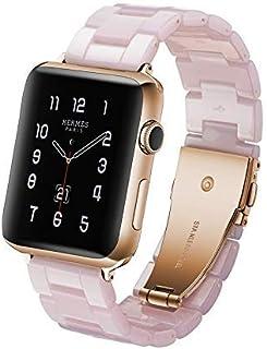 Correa de reloj de resina para Apple Watch Series 5 y 4 de 44 mm y Series 3, 2 y 1 de 42 mm, color rosa