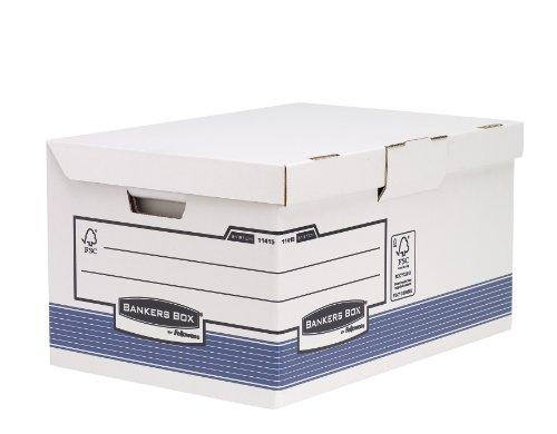 Fellowes 1141501 Banker Box System Caisse pour Archives Flip Top Maxi par 10 Blanc/Bleu