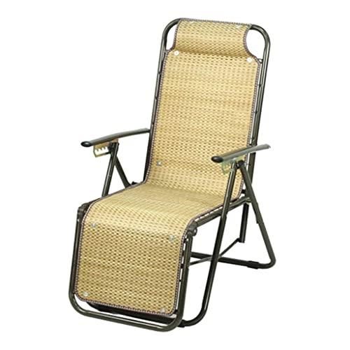CCLLA SunLoungers Silla reclinable Plegable para Exteriores Silla de Ocio de Verano Adecuada para jardín, balcón, terraza, Parque con reposacabezas y tapete de bambú, 2 Estilos (tamaño: A)