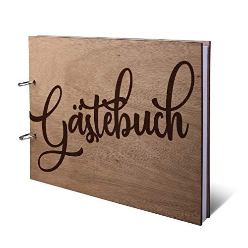 Hochzeit Gästebuch Okoume Holz Lasergravur Holzcover 144 Naturpapier Innenseiten DIN A4 quer 302 x 215 mm - Comic Schrift
