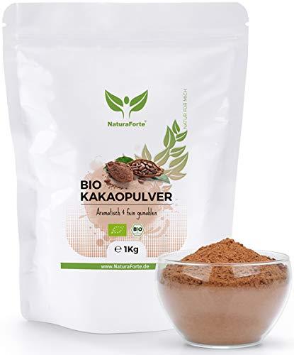 NaturaForte Cacao in Polvere 1kg, Cereogenamente disidratate, Alimenti crudi senza zucchero, Cacao puro al 100% da fagioli pregiati, basso contenuto di grassi, senza glutine, aroma intenso