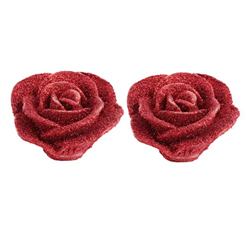 BESPORTBLE 2PCS Rose Flower Candle Paraffin Wax Glitter Smokeless Floating Candles for Valentines Day Wedding Party Favor Home Decoration (Red)