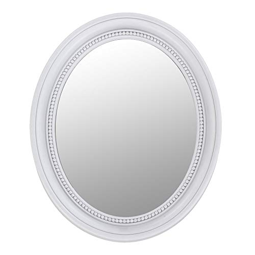 etc-shop Spiegel Oval weiß Wandspiegel Vintage weiß Spiegel Barock Weiss, Ornamente, LxH 41,7X 50,5 cm