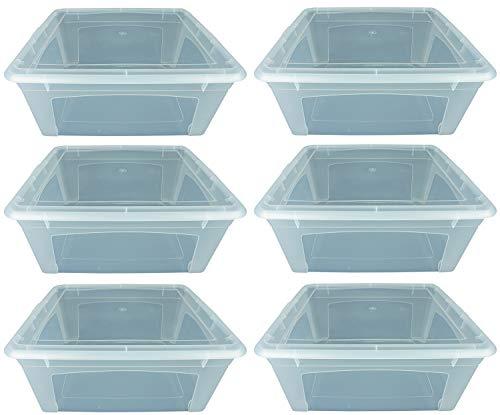 Novaliv 6X Aufbewahrungsbox Groß 16l 40x34x17 Schuhbox Stapelbar Plastikbox transparent Kunststoff mit Deckel Plastic storages Box Kiste Lager 40cm