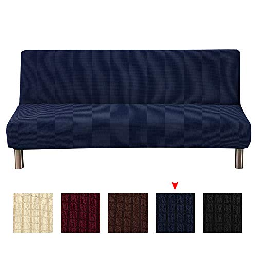 Armless Sofa Cover,Polyester Spandex Waterproof Futon Slipcover Protector 3 Seater,armless sofa bed seat cover,Furniture Protector fits Folding Sofa Bed Without Armrests Slipcover (navy)