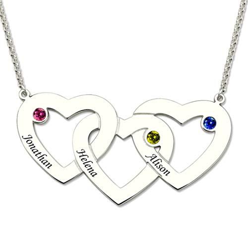 Stɑy Real Collar Personalizado de Tres Corazones entrelazados con 3 Piedras natales y Nombres para la Madre Abuela Esposa Día de la Madre Ideal para la Familia