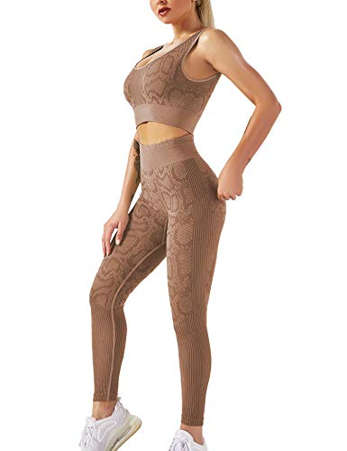 YEOREO Yoga Outfit for Women Seamless 2 Piece Workout Gym High Waist Snake Print Leggings with Sport Bra Set Brown M