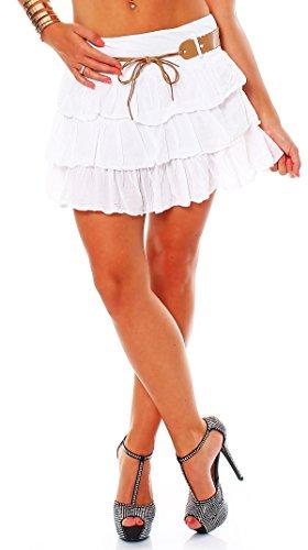 Zarmexx süsser Damen Volantrock Sommerrock Minirock mit Gürtel Baumwolle Rüschen Rock (Weiss, one Size)