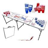 Original Cup - Set de Mesa de Beer Pong (Pizarra Blanca), 1 x Mesa de Beer Pong + 120 x Vasos (60 Rojos y 60 Azules) + 6 x Bolas, Dimensiones Oficiales 240 x 60 x 70 cm - Whiteboard