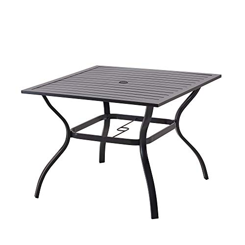 Patio Dining Table Outdoor Metal Square Table with...