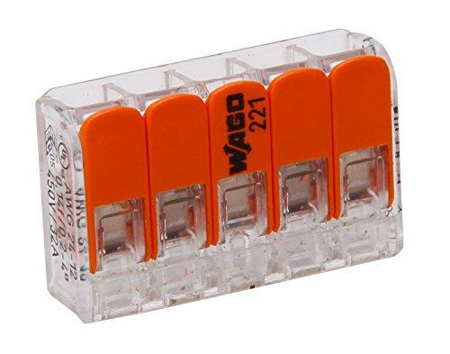 Preisvergleich Produktbild Kopp 33346403 WAGO Steckklemme 5-fach mit Hebel für flexible Drähte wiederöffenbar transparent 1, 5-2, 5 mm² Inhalt 5 Stück,  Grau / orange