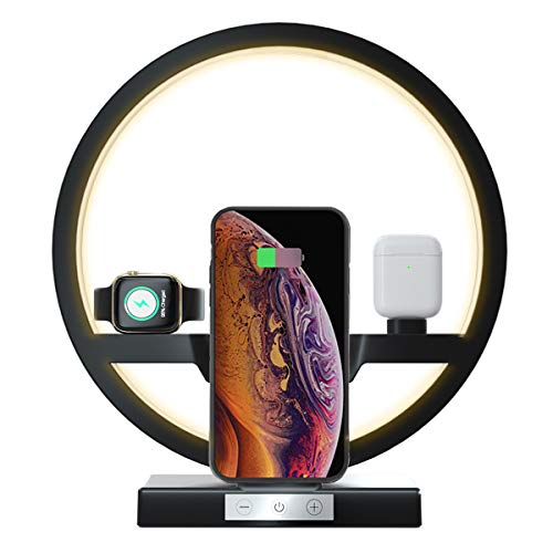 Wireless Charger Station, EBXYA 3 in 1 Wireless Charging Lamp, for Apple Watch, Airpods, iPhone 12/11/ Pro/Xs Max/XR/X/8 Plus, Samsung and Other Qi Devices(Black)