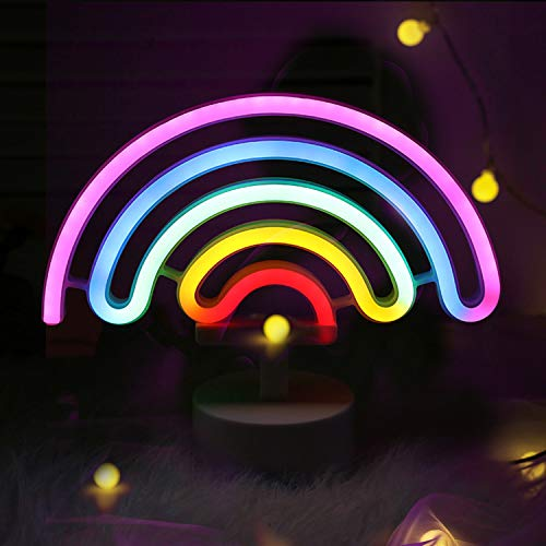Battife Rainbow Neon Sign LED Light with Holder Base USB or Battery Operated Table Night Lamp for Bedroom,Home Party Decorations Gifts - Rainbow