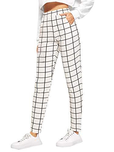 SweatyRocks Women's Casual High Waist Skinny Leggings Stretchy Work Pants Plaid White Large