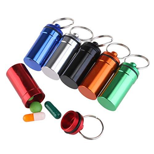 WINOMO 6 piezas Pastillero Píldoras Llavero Caja Botella Contenedor De Aluminio Impermeable
