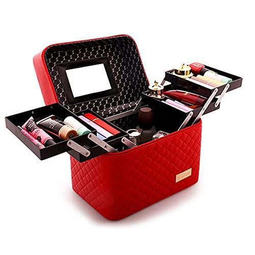 Guuisad Mujeres de Gran Capacidad Professional Organizador Organizador DE Moda DE Manera COSMÉTICA Caja de Almacenamiento de múltiples Capas Portátil Bonita Maleta (Negro) (Color : Red)