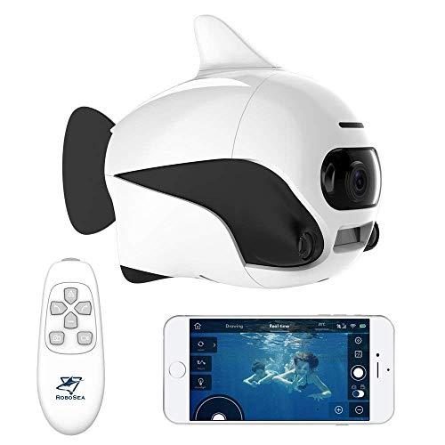 Submarino Robot de Peces pequeños Sumergible inalámbrico Mando a Distancia para Drone con cámara 4 K HD, conexión WiFi Bionic diseño Peces Robot Mascota en Piscinas y Lagos Drone Submarino Robot