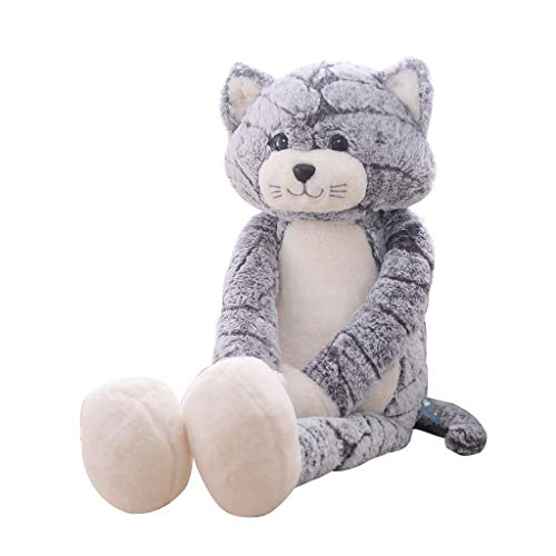 YWSZJ 50/70 / 90 cm Kawaii Cats Peluche Peluche Animales Rellenos Lindo Fluffy Larga Leg Muñecas Soft Kids Toy Child Cumpleaños (Color : Gray, Size : 90 cm)