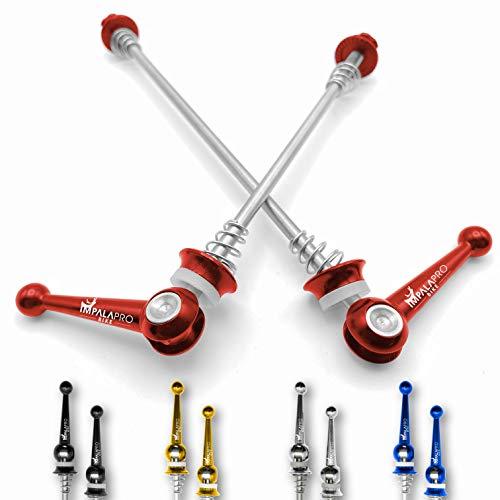IMPALAPRO Bike Set de 2 Cierres rápidos de Titanio para Rueda de Bicicleta montaña (MTB) o Carretera. Eje Delantero 100mm y Trasero 135mm ultraligeros y Resistentes (Rojo)