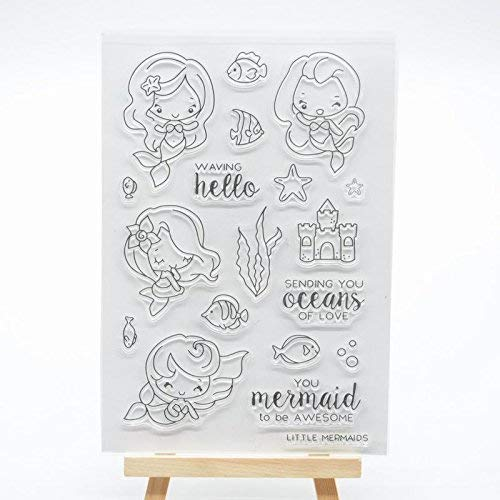Welcome to Joyful Home 1pc Sending You Ocean of Love Mermaid Clear Stamp for Card Making Decoration and Scrapbooking