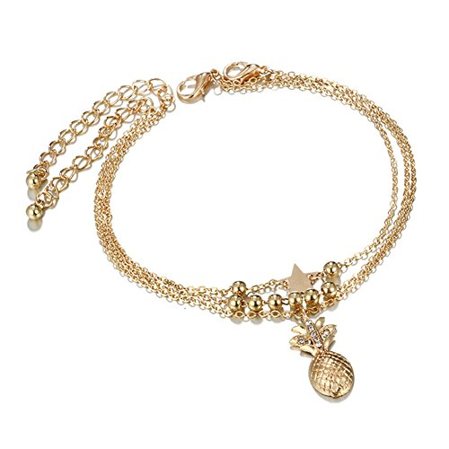 Ellepigy Multilayer Frauen Fußschmuck Barfuß Gold Sterne Ananas Strand Fußkette Knöchel Armband