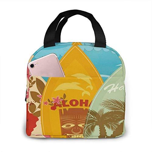 N\A Bolsa de Almuerzo portátil Oxford Carry Tote Tablas de Surf de Playa Hawaiana Vintage con Aislamiento Gourmet Lonchera Bolso Aislante