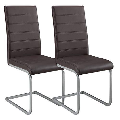 ArtLife Freischwinger Stuhl Vegas 2er Set | Kunstleder Bezug + Metall Gestell | 120 kg belastbar | braun | Esszimmerstühle Schwingstühle