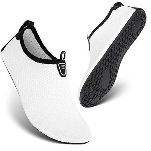 HEETA Barefoot Water Sports Shoes for Women Men Quick Dry Aqua Socks for Beach Pool Swim Yoga Dot_White XXL
