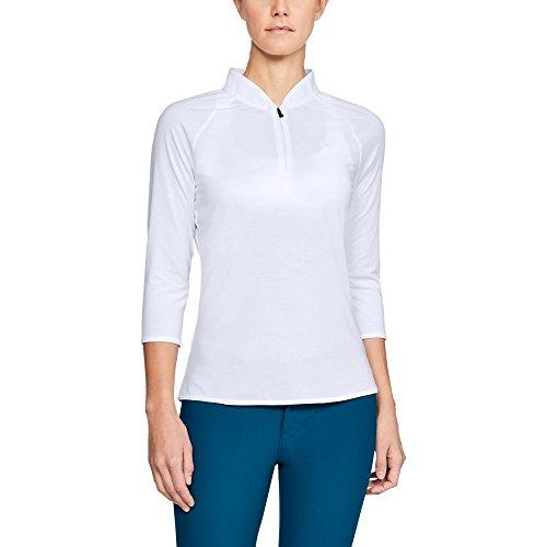 Under Armour Polo Zip Threadborne Edge T-Shirt Femme, White/White/White (100), FR : L (Taille Fabricant : L)