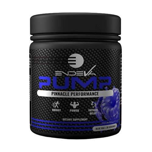 Endeva Nutrition Pump Pre-Workout (No Caffeine/Non-Stim) | Increase Energy, Power, Fatigue Delay | Beta Alanine, Citrulline Malate,L-Tyrosine, Beetroot Extract | 30 Servings (Blue Razz)