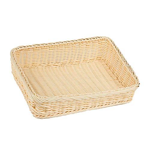 Fablcrew. Cesta para frutas y pan de mimbre de ratán, cesta de almacenamiento trenzada rectangular, cestas de comida para frutas, verduras, pan, cookies, Candy, 45*35*8CM