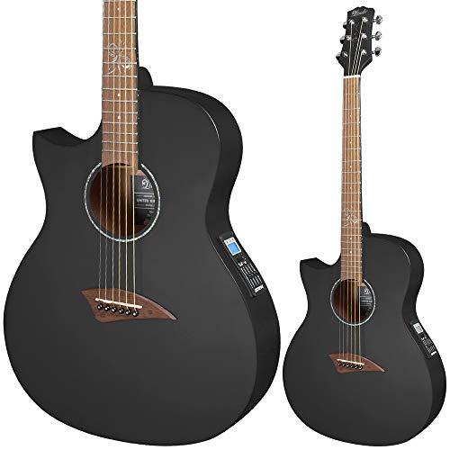 Lindo ORG-SL Schlanke Elektro-Akustische Linkshänder Gitarre mit Vorverstärker und integriertem Stimmgerät sowie Zubehör, schwarz