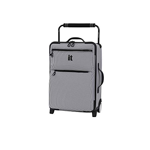 IT Luggage 21.8' World's Lightest Los Angeles 2 Wheel Carry On, Black/White