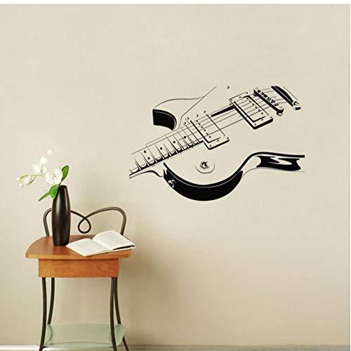 Guitarra eléctrica Etiqueta de la pared Arte Vinilo Autoadhesivo Instrumento musical Calcomanía...