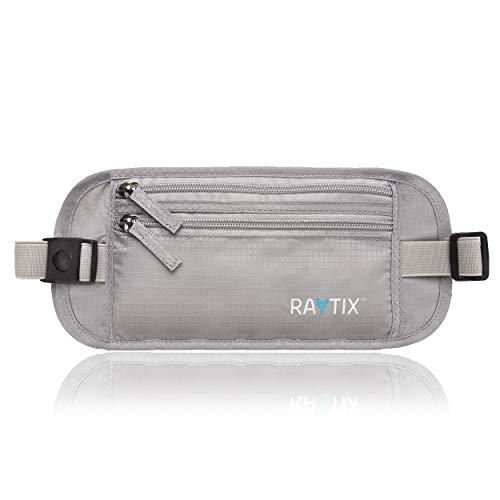 Raytix Travel Money Belt With RFID Transmissions –Secure, Hidden Travel Wallet (Gray) 2019 NEW STYLE