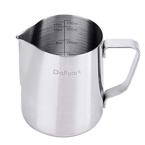 Dailyart Milk Frothing Jug Frothing Pitcher Espresso Steaming Pitcher Barista Tool Coffee Machine Accessory 304 (18/8) Stainless Steel 350ml