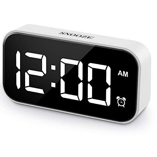 Beyoxfath Digital Alarm Clock, 5-inch LED Screen, Battery Backup, 12/24H, 5 Brightness, 6 Alarm Settings, Snooze, USB Port, White Large Digital Display, Bedroom Alarm Clock Kitchen Office