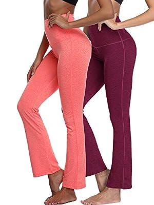 Neleus Women's 2 Pack Tummy Control High Waist Yoga Pants Bootleg Flare Pants Inner Pocket,105,Wine Red,Orange,2XL