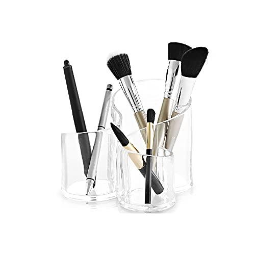 Homeanda Kosmetik Aufbewahrung mit 3 Fächern aus Kunststoff, Kosmetik Organizer aus Acryl, Make Up Behälter Schminke Aufbewahrung