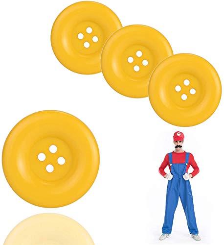 TK Gruppe Timo Klingler 4X Super groß Knöpfe Knopf Mario Waluigi Mario gelb für Kostüm, Verkleidung, Erwachsene Latzhose Karneval Fasching Damen und Herren (4X)