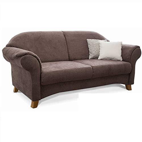 Cavadore 2-Sitzer Sofa Maifayr mit Federkern / Moderne 2-sitzige Couch im Landhausstil mit Holzfüßen / 164 x 90 x 90 / braun