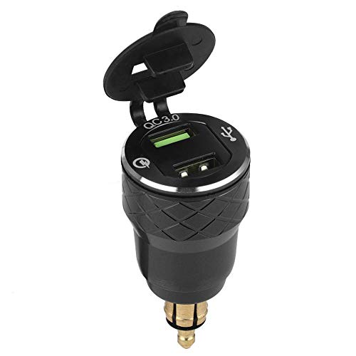 Qiilu Cargador USB de motocicleta de 12V-24V, enchufe de cargador de alimentación de puerto USB con pantalla LED Enchufe de la UE(Negro)