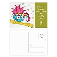 ベニスのカーニバルのの幸せのダブル 詩のポストカードセットサンクスカード郵送側20個