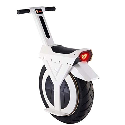 FTFTO Wohnausrüstung 17 Zoll Elektro-Einrad Smart Balance Auto Erwachsener Elektroroller Mit LED-Leuchten Und Kick Stand 60V / 500W Unisex Sicherheitslastlager 120KG Weiß