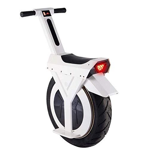 Monociclo eléctrico de 17 Pulgadas Smart Balance Car Scooter eléctrico para Adultos con Luces LED y Soporte 60V / 500W Soporte de Carga de Seguridad Unisex 120KG Blanco
