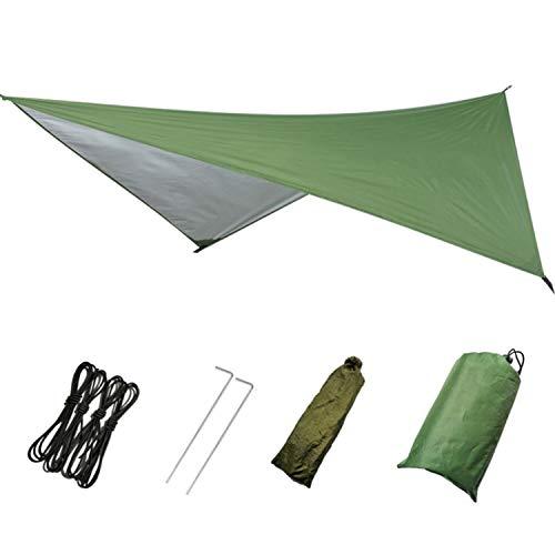 Iptienda Hammock rain Fly, Tent Tarps Footprint Ultralight Waterproof Picnic Mat Sunshade, Hammock with Mosquito Net Rainfly Tent for Beach Camping Hiking Travel Outdoor (Army Green, 9182 inch)