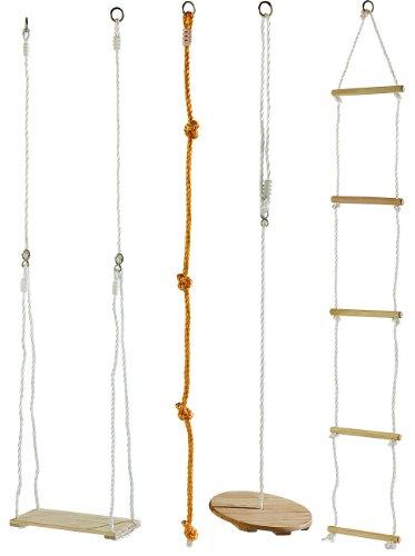 Playtastic Tellerschaukel: 4-teiliges Schaukel- und Kletterset für Kinder (Kletterseil Schaukel)