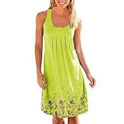 Daylin Women Lady Dress Casual Large Size O-Neckline Solid Daily Beach Sleeveless Loose Pocket Linen S~5XL